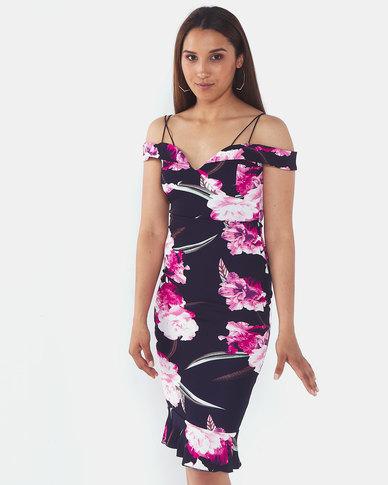 AX Paris Floral Midi Dress With Delicate Straps Navy