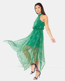 AX Paris Printed Halterneck Midi Dress Green