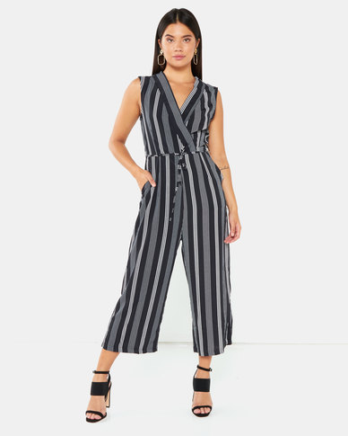 AX Paris Striped Tie Waist Jumpsuit Black