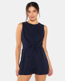 AX Paris Tie Waist Playsuit Navy
