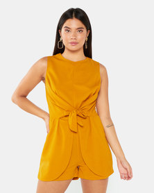 AX Paris Tie Waist Playsuit Mustard