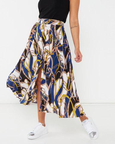 AX Paris Pleated Midi Skirt With Chain Print Blue