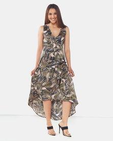 AX Paris  V Neck Leaf Print Dress Khaki