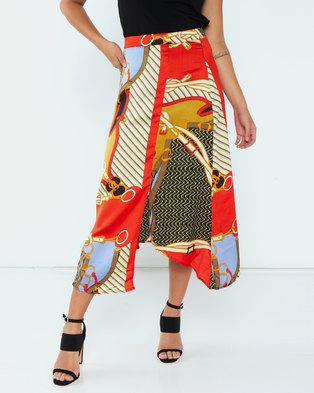 AX Paris Chain Print Skirt Orange