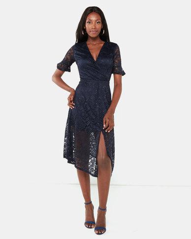 AX Paris Wrap Front Lace Dress Navy
