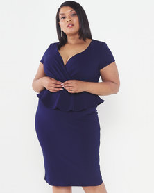 City Goddess London Plus Size Peplum Short Sleeve Midi Dress Navy