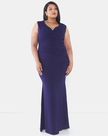 City Goddess London Plus Size Bardot Pleated Maxi Dress Navy