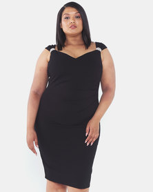 City Goddess London Plus Size Shoulder Detailed Midi Dress Black