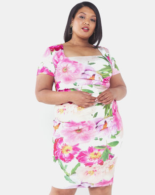 City Goddess London Plus Size Cream Print Square Neckline Pleated Midi Dress