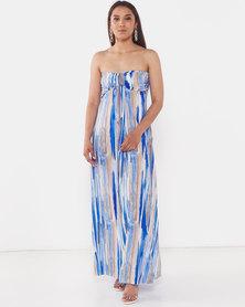 City Goddess London Bandeau Paint Print Maxi Dress Blue