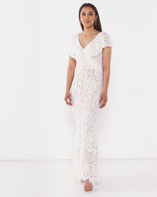 City Goddess London Lace Wedding Maxi Dress with Frilled V Neckline White