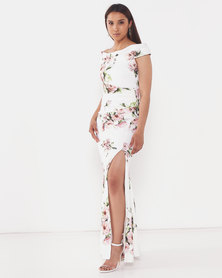 City Goddess London Floral Off The Shoulder Maxi Dress With Split Cream