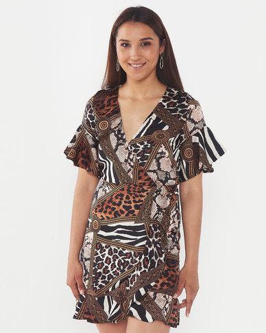 AX Paris Printed Frill Detail Dress Beige Multi