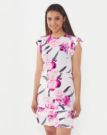 AX Paris Floral Frill Sleeve Dress  Cream
