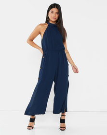 AX Paris High Neck Culotte Jumpsuit Navy
