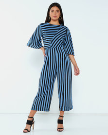 AX Paris Stripe Culotte Jumpsuit Blue