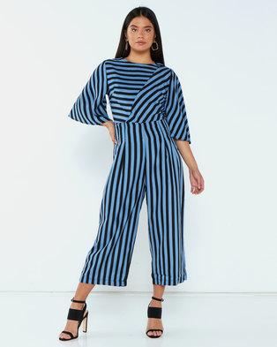 AX Paris Stripe Culotte Jumpsuit Blue