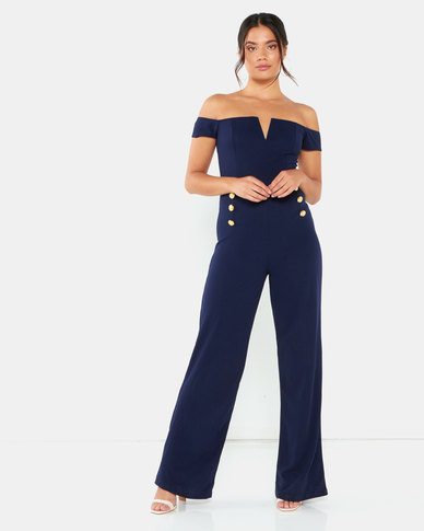 AX Paris Off The Shoulder Jumpsuit With Military Button Detail Navy