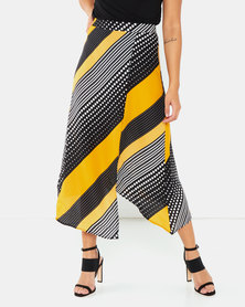 AX Paris Multi Print Midi Skirt Yellow