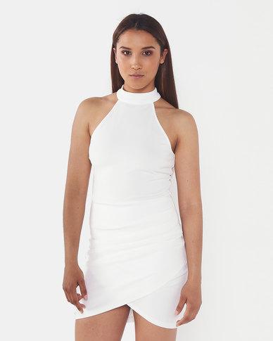 AX Paris Bodycon High Neck Ruched Dress Cream