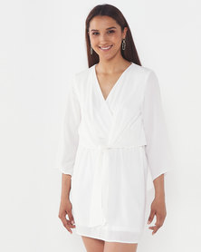AX Paris Tie Front Day Dress Cream