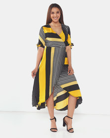 AX Paris Print Wrap Dress Yellow Multi