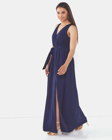 AX Paris Wrap Front Maxi Dress Navy