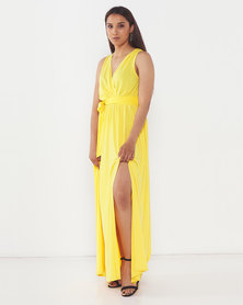 AX Paris Wrap Front Maxi Dress Yellow