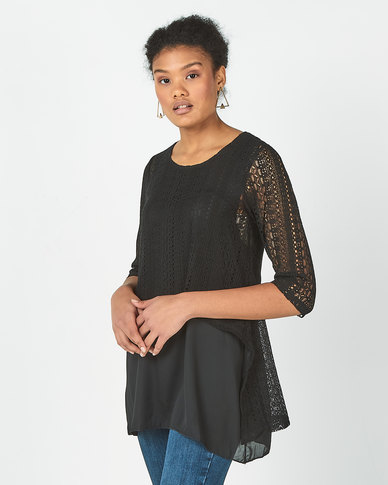 Revenge Lace Detail Top Black