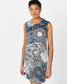 Revenge Shift Style Printed Midi Dress Blue