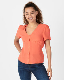 Revenge Button Tie Blouse Peach