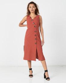 Revenge Asymmetrical Button Detail Midi Dress Rust