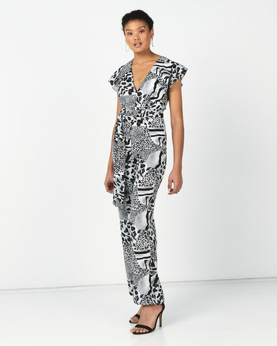 Revenge Print Jumpsuit Grey Multi