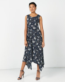 Revenge Flared Maxi Dress Navy