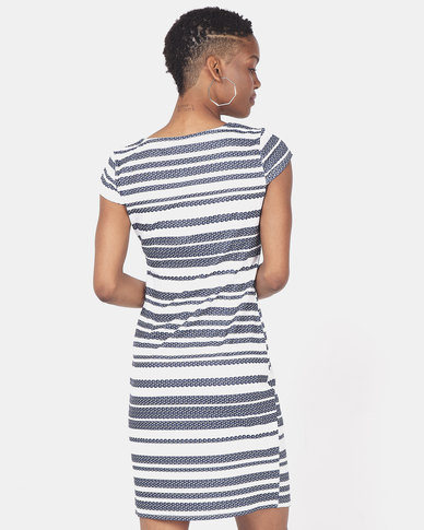 Revenge Striped Shift Dress Navy