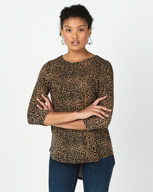 Revenge Hi Lo Animal Print Top Tan