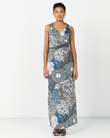 Revenge Paisley Print Dress With Ring Detail Blue