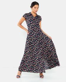 Revenge Short Sleeve Maxi Dress Mutli Navy