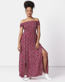 Revenge Off Shoulder Ditsy Print Maxi Dress Red