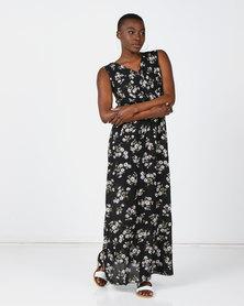 Revenge Maxi Printed Dress Black