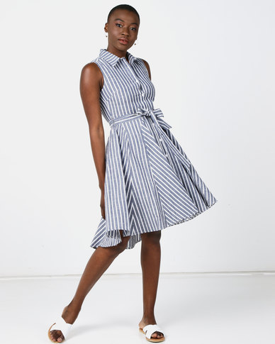 Revenge Striped Flared Dress Indigo