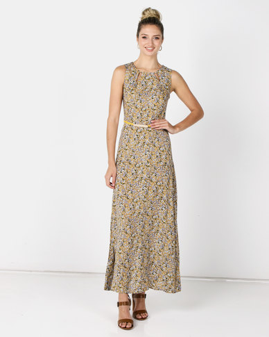 Revenge Maxi Dress With Belt Multi Yellow