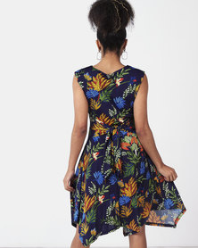 Revenge Flared Printed Dress Multi Navy