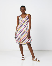 Revenge  Striped Dress Cream