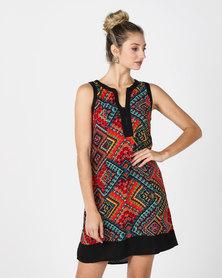 Revenge Shift Printed Dress With Border Multi Red