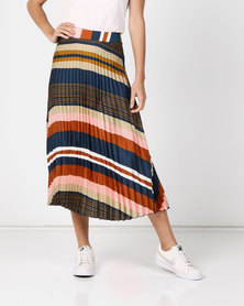 Revenge Striped Pleated Skirt Multi Navy