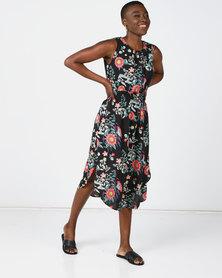 Revenge Sleeveless Mid Length Dress Multi Black
