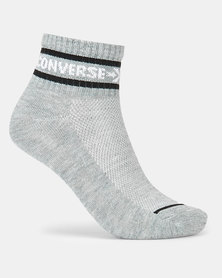 Converse CHN 3PK Basic Wordmark QTR Converse Socks Dark Grey/Heather White/Black