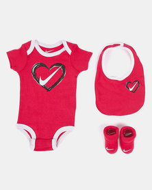 Nike Brush Stroke Heart Babygrow Set Rush Pink