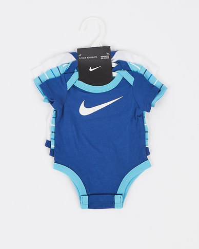 Nike Gaze Nike Boys JDI Stripe 3 Pack Bodysuit Blue
